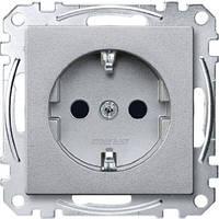 Механизм розетки с з/к и защитными шторками Merten SM Алюминий MTN2300-0460