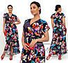 Ніжне жіноче плаття в квітковий принт (3 кольори) SD/-667 - Темно-синій