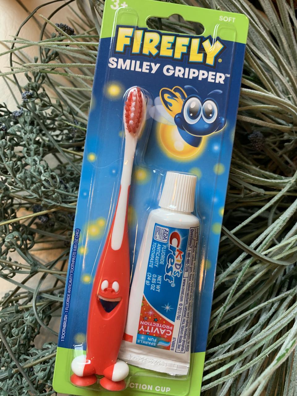 Детская красная зубная щетка FIREFLY плюс паста CREST