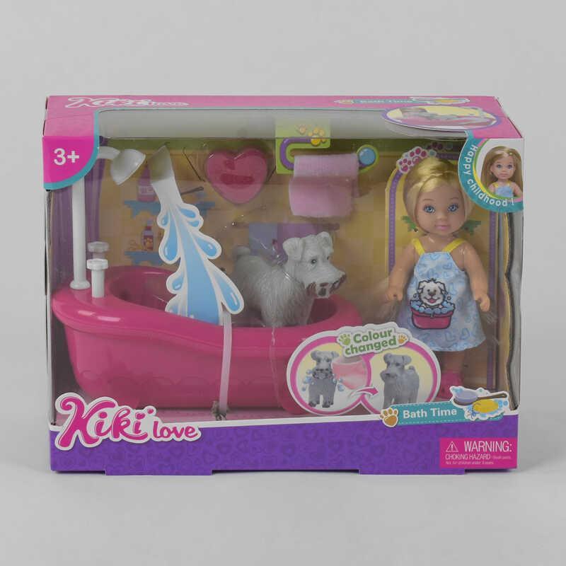 Кукла 88034 (48/2) ванна, собака, аксессуары, в коробке