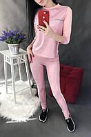 Костюм женский экокожа  розовый размер 40 031