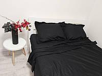 Комплект постельного белья из страйп сатина (размер Евро стандарт - черного цвета)