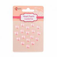 Набор жемчужин SANTI самоклеющихся сердечки розовые, 18 шт
