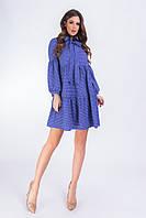 Платье свободного кроя с рюшами в горох электрик, 194, фото 1