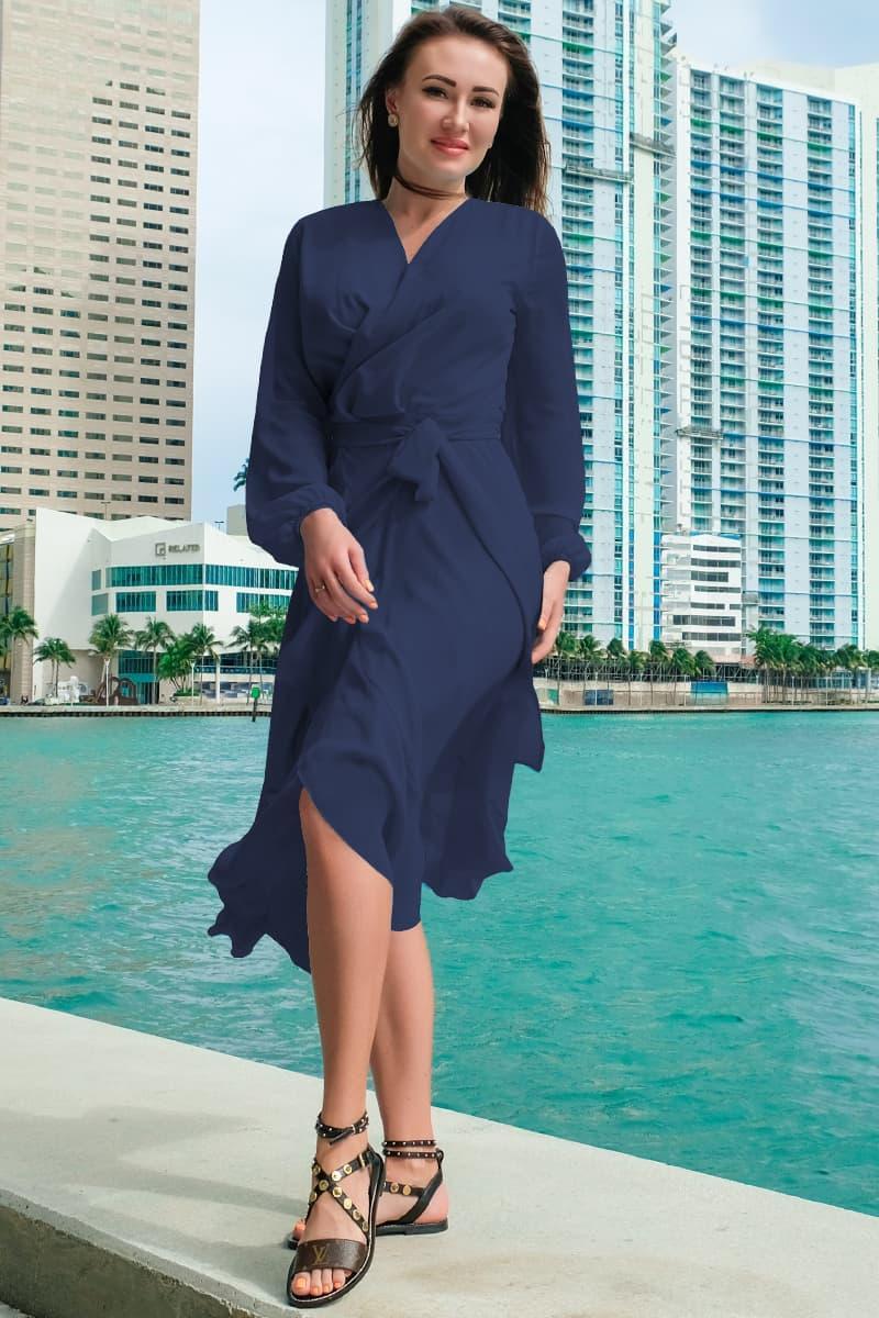 Элегантное однотонный платье Милена темно - синий