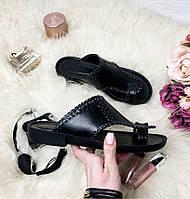 Черные женские кожаные босоножки- шлепанцы 36-41р