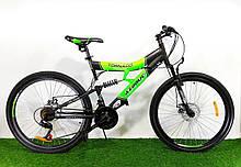 Спортивный велосипед 26 дюймов Аzimut Tornado d 26 дюймов черно-зеленый + подарок. Горный велосипед азимут.
