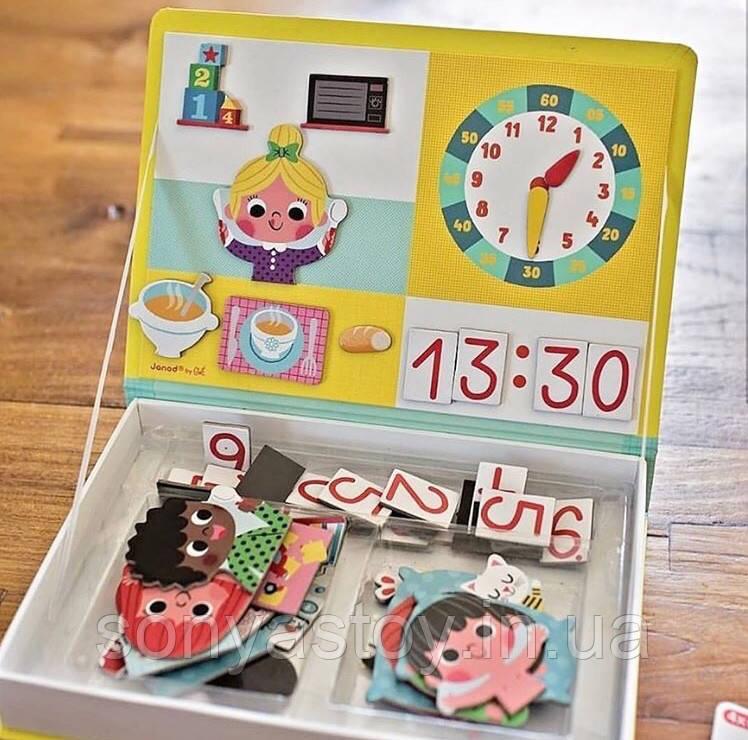 Гра Janod Магнітна книга - Вчимося називати час, 3+