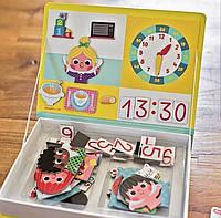 Игра Janod Магнитная книга - Учимся называть время, 3+