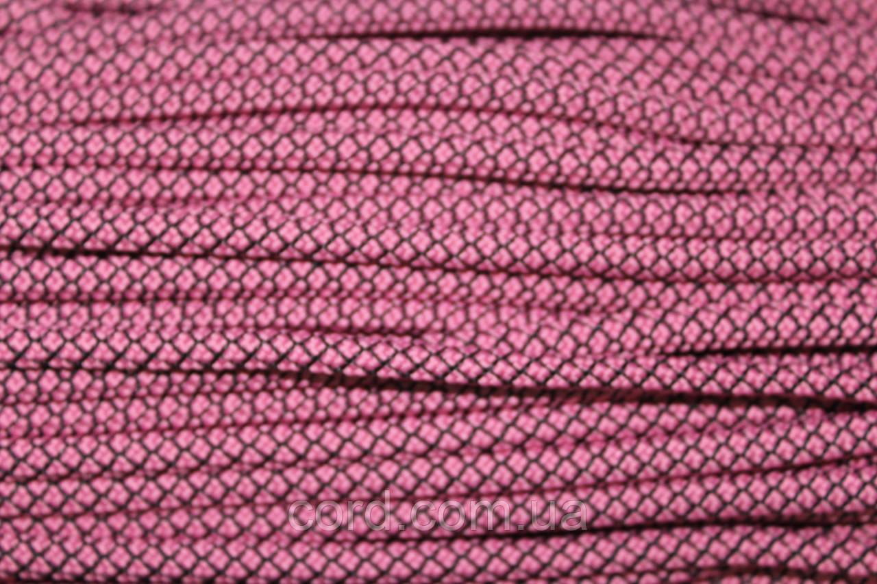 Шнур круглый 6мм с наполнителем 100м розовый + черный