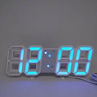 Электронные настольные LED часы с будильником и термометром LY 1089 белые (Синяя подсветка)