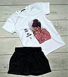 Жіночий костюм, шорти з футболкою комплект Drems біла з чорним. Живе фото, фото 2