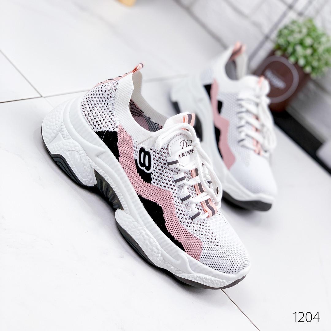 Кроссовки женские текстильные белые с розовым