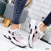 Кроссовки женские текстильные белые с розовым, фото 3