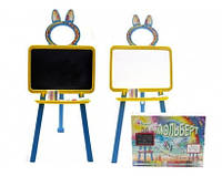 Детская Двухсторонняя доска для рисования маркером и мелом Желто-голубая
