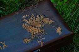 """Авторський набір шампурів ручної роботи """"Biker"""" у футлярі з дерева з гравіюванням, фото 3"""