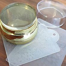 Штампик для стемпинга большой+ две пластины . диаметр подушечки 4см