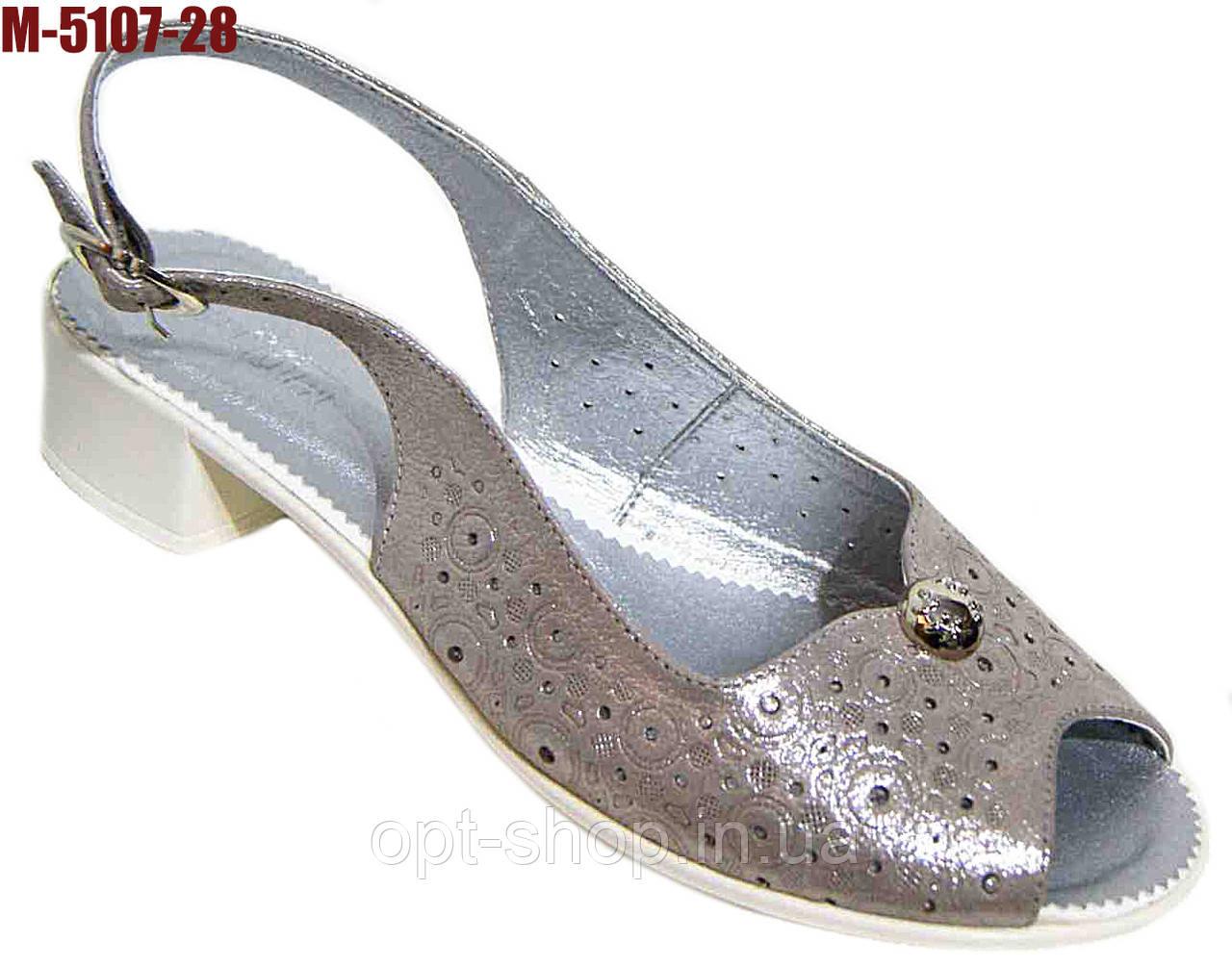 Босоножки женские кожаные на небольшом каблуке большой размер