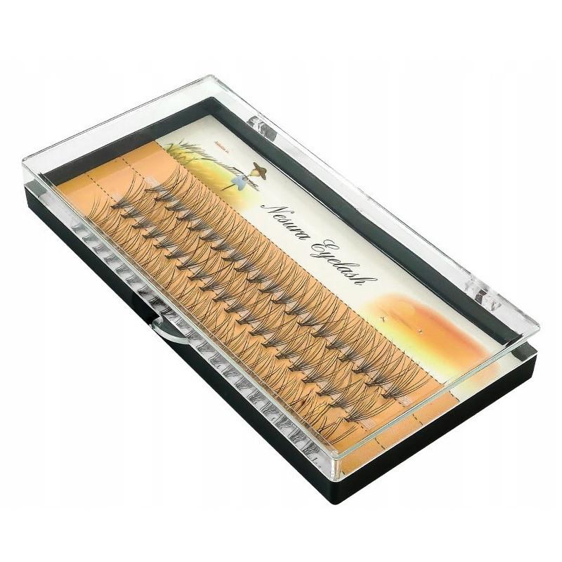 Ресницы пучковые Nesura 0.10 D 10 мм шелковые черные набор, 60 шт
