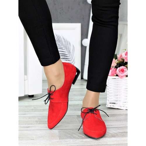 Класичні туфлі на низькому ходу червоні 7370-28