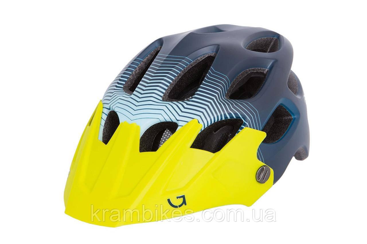 Шлем Green Cycle - Slash размер 58-61см синий-голубой-желтый матовый