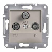 Розетка TV-R-SAT прохідна (8 дБ) бронза Asfora Schneider