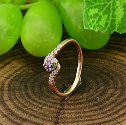 Кольцо Xuping 14427 размер 12 ширина 5 мм вес 0.9 г разноцветные фианиты позолота 18К