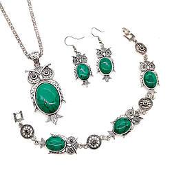 Набір SONATA (підвіска на ланцюжку, сережки, браслет), зелена бірюза прес., 73497