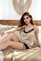 Пижама женская шёлковая с шортами с кружевом чёрный/кофе
