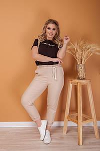 """Стильные льняные женские брюки """"ANDORRA"""" с карманами (большие размеры)"""