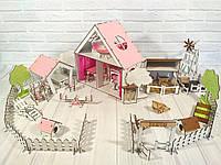 Деревянный домик для кукол LOL с двориком и фермой, фото 1
