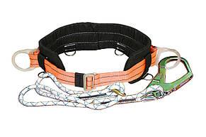 Пояс безлямочный /6 ПБ/ /строп- плетеный шнур/ с большим карабином