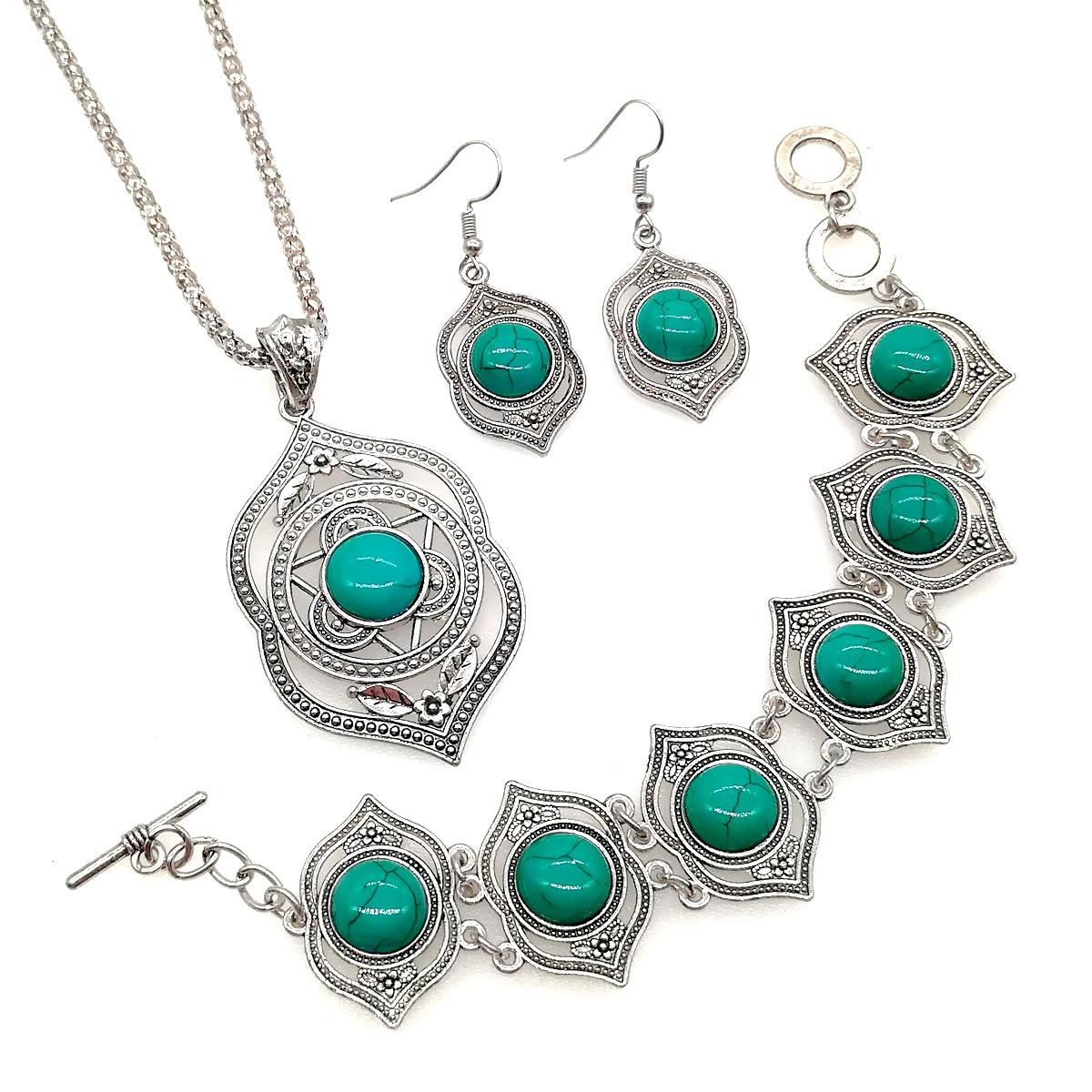 Набор SONATA (подвеска на цепочке, серьги, браслет), зеленая бирюза прес., 73475