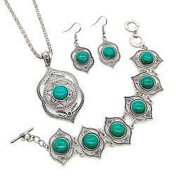 Набір SONATA (підвіска на ланцюжку, сережки, браслет), зелена бірюза прес., 73475