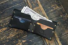 Мужской кожаный кошелек HANDCRAFT IN UA  чёрный