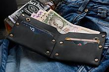 Мужской кожаный кошелек Гранж black