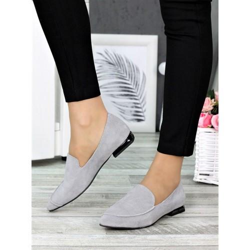 Туфли лодочки на низком ходу серые
