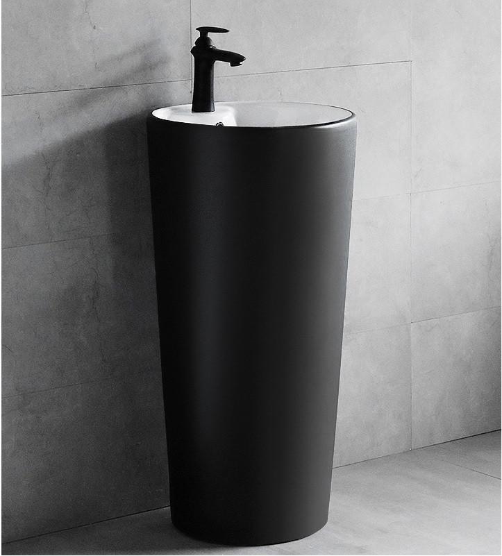 Черная матовая напольная раковина-умывальник. Модель RD-443