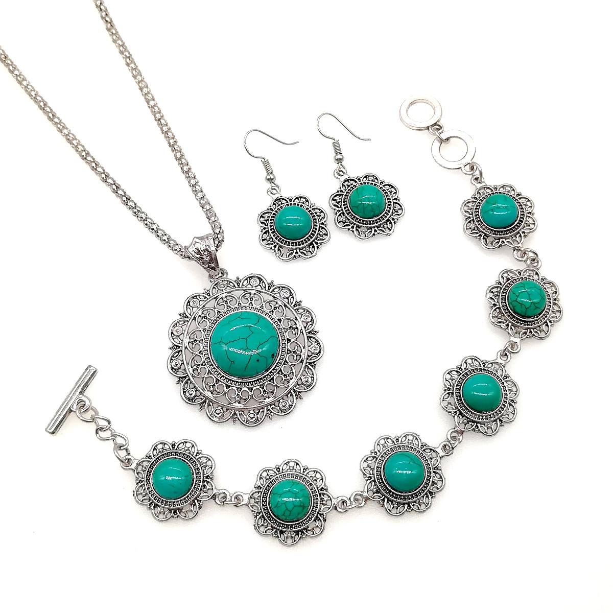 Набір SONATA (підвіска на ланцюжку, сережки, браслет), зелена бірюза прес., 73487