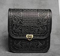 """Кожаная сумка ручной работы с тисненым орнаментом """"Фундук"""", большая черная кожаная сумка через плечо"""