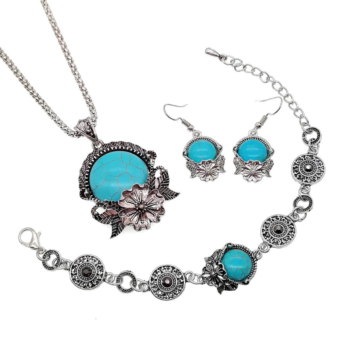 Набір SONATA (підвіска на ланцюжку, сережки, браслет), прессованна бірюза, 73473