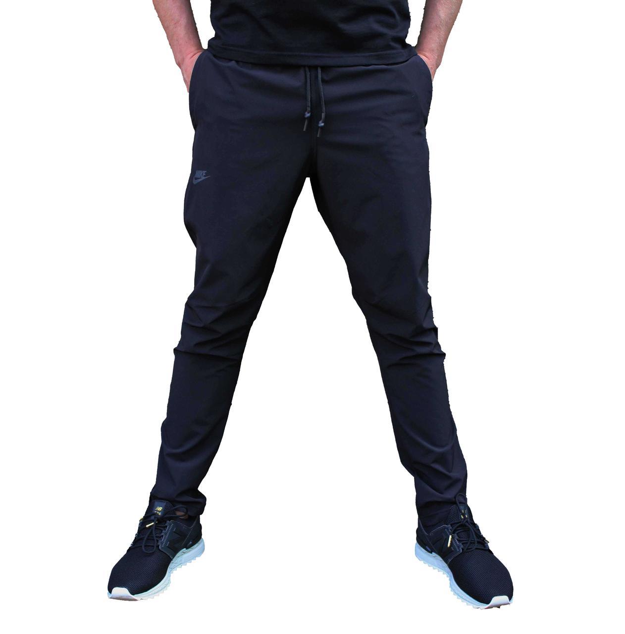 Черные летние прямые спортивные штаны Under Armour плащевка стрейч (Реплика)