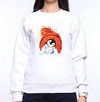 Женский свитшот с принтом Пингвин в красной шапке Push IT