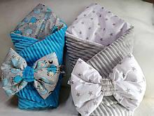 Набор Конверт    для новорожденных на выписку Пупсик Плед плюшевый + бант ( подушечка) на резинке