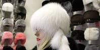 Меховая шапка Сноп чернобурки белого цвета