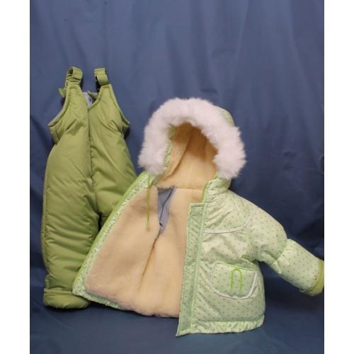 Детский костюм-тройка (конверт+курточка+полукомбинезон) салатовый горошек