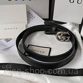 Ремінь Gucci шкіряний вузький, 2 см, чорний з срібною пряжкою в коробці