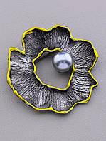 Брошь цветок серый металл Майорка 60x60мм.