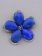Брошь Цветок синий Лазурит натуральный 45x45мм.