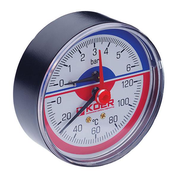 Термо-манометр аксиальный (KOER KM.802A) (0-6 bar), D=80мм, 1/2'' (KR0223)